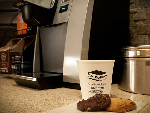 ...to enjoy our free, fresh-baked cookies and hot or cold beverage.
